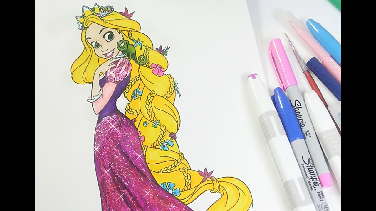 Rapunzel coloring book Tangled coloring pages for kids - YouTube