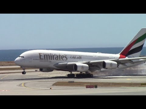 FIRST Emirates A380 Landing & Water salute in Nice