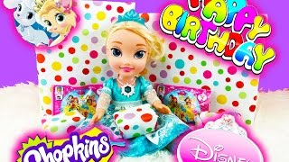 Baby Doll ELSA BIRTHDAY PARTY!! Shopkins Season 3 Surprise Frozen Disney Princess Dolls Palace Pets