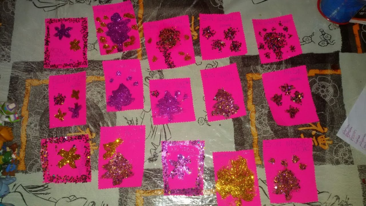 como hacer postales navideas con cartulina y purpurina