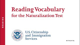 Reading Vocabulary for the US Citizenship Naturalization Test 2017 (OFFICIAL)