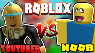 YOUTUBERS VS NOOBS IN ROBLOX NATURAL DISASTER!!!