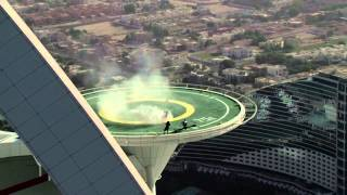 Red Bull F1 car donuts on Burj Al Arab helipad by David Coulthard