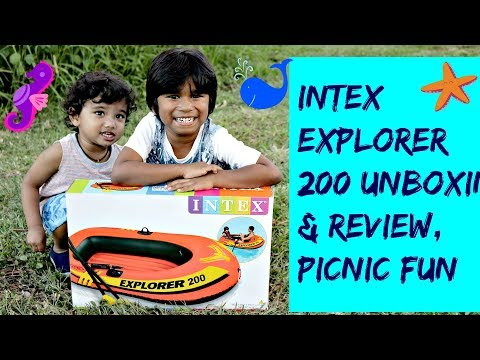 Inflatable Boat - Intex Explorer 200 Unboxing & Review, Kayak, Oars, Fishing, Boating Water