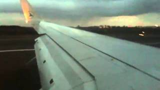Luxair Luxembourg Airlines B737-800W landing at Luxembourg Findel airport (Luxembourg)