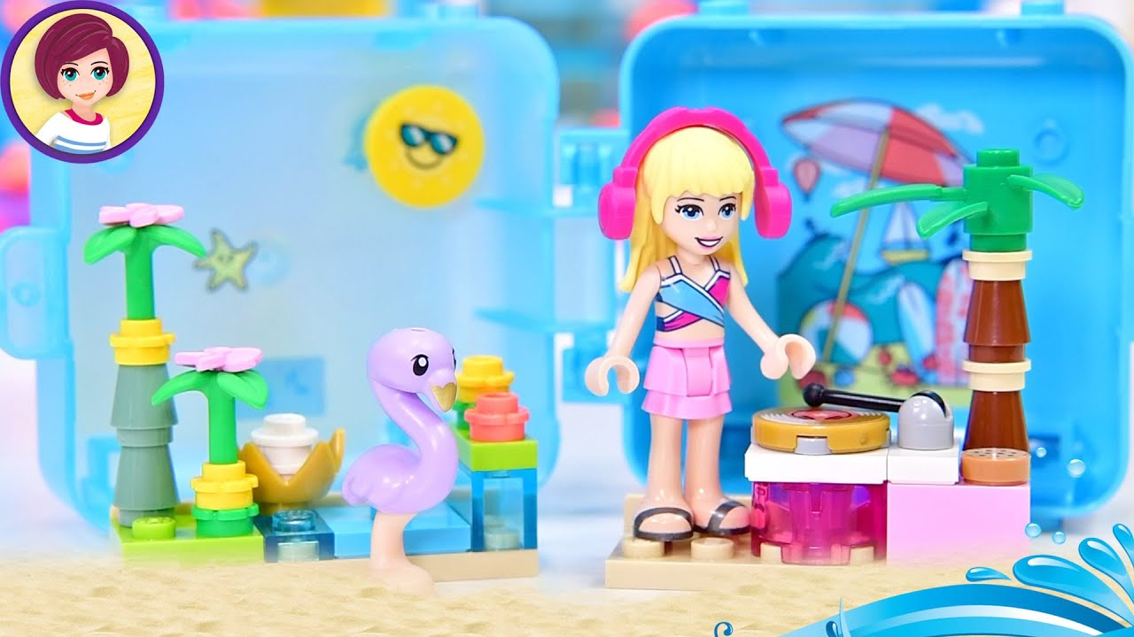 Time for a weird coloured flamingo, woot! Opening Stephanie's Summer Cube Lego Friends Build