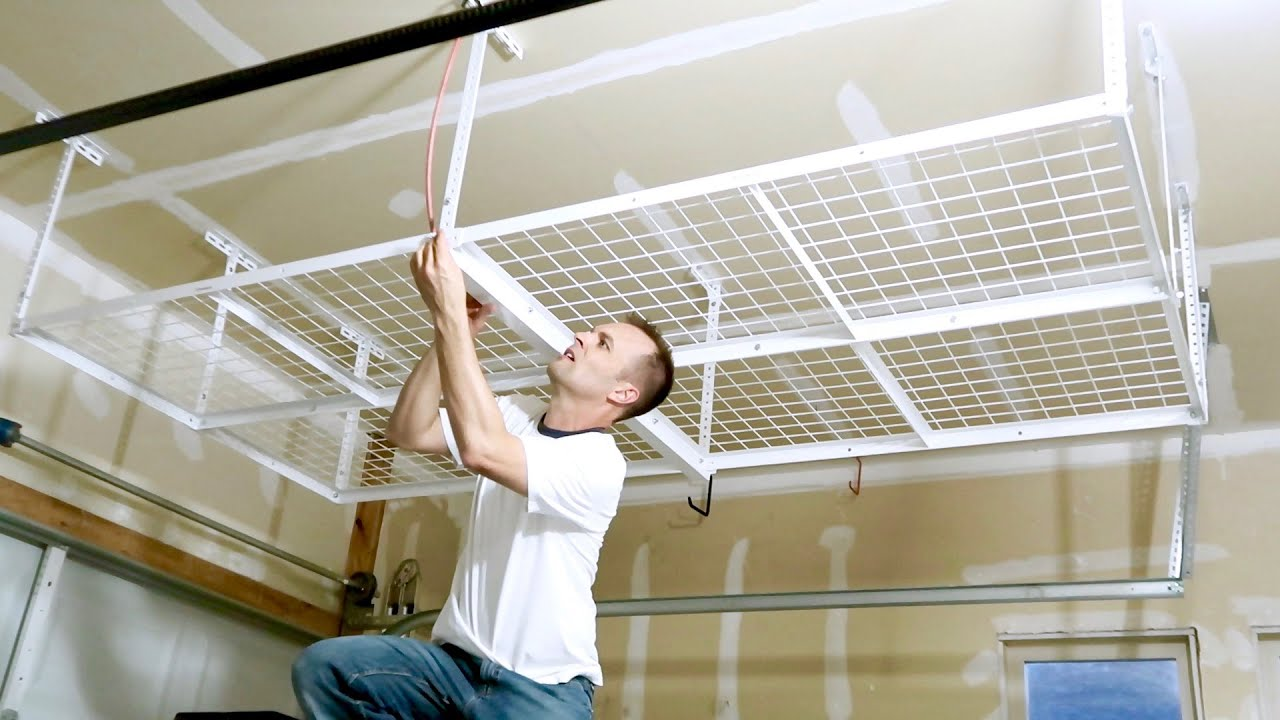How To Install A Overhead Garage Storage Rack Ceiling Mount Shelf Youtube