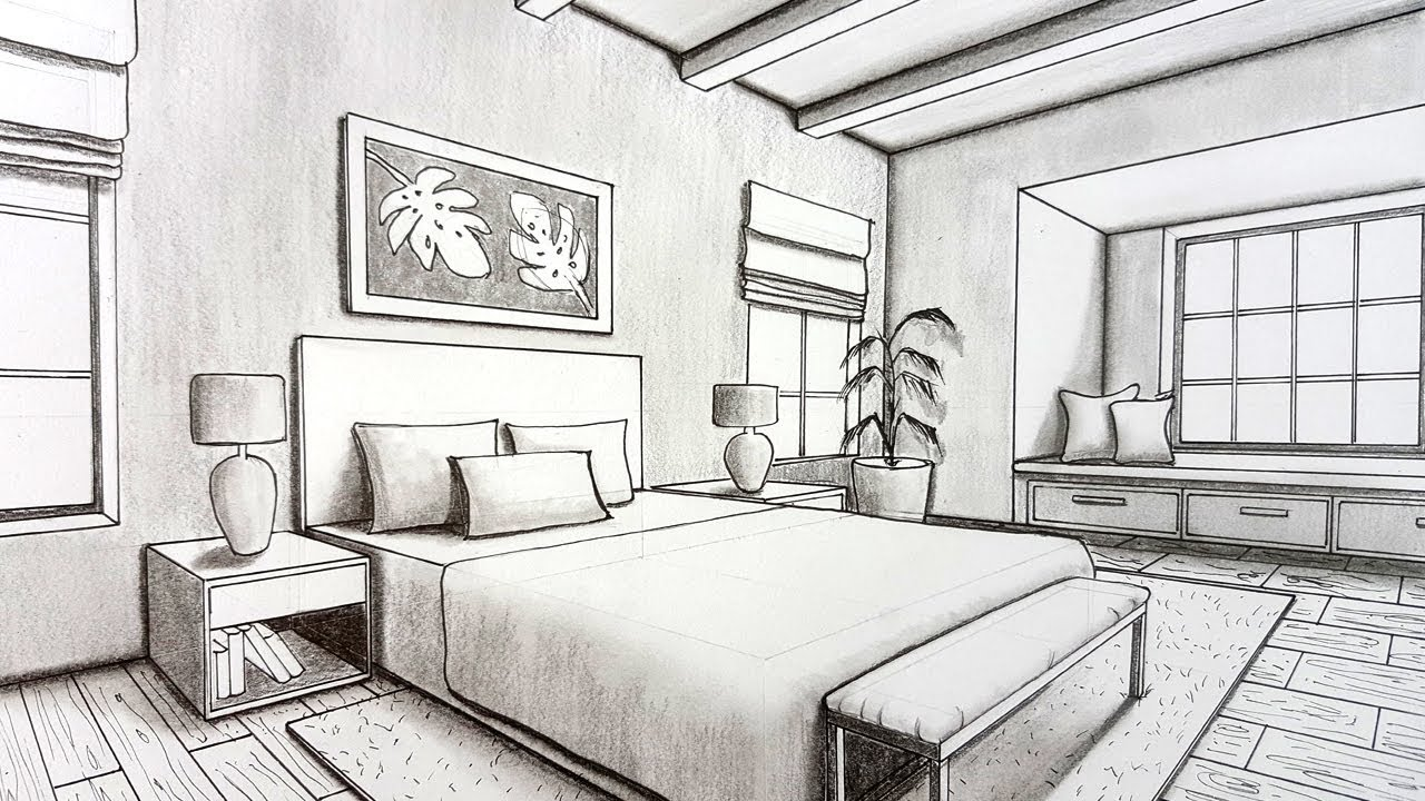 Drawing A Bedroom In Two Point Perspective Timelapse Youtube