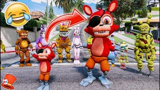 GIANT ADVENTURE FOXY! BIG FNAF WORLD ANIMATRONICS! (GTA 5 Mods For Kids FNAF RedHatter)