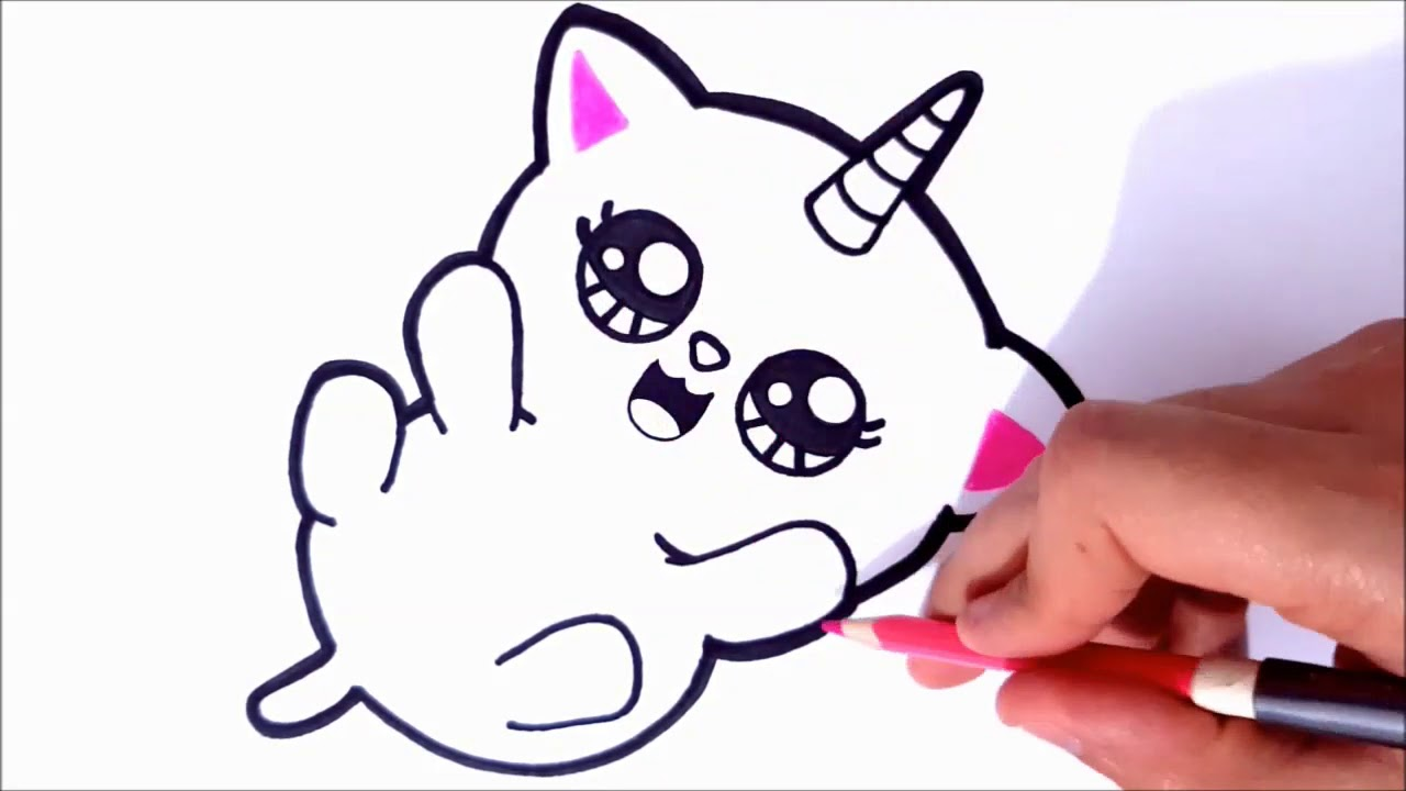 HOW TO DRAW CAT DRAWING COLORING CAT UNICORN DRAW CUTE ...