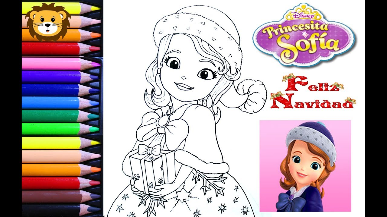 Como Dibujar Y Colorear Princesa Sofia Navidad Draw And Coloring Book For Kids