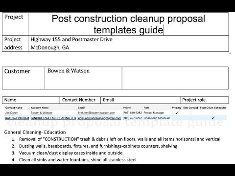 Post Construction Cleanup Proposal Templates - Construction