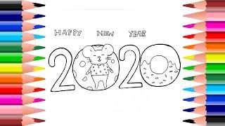วาดรูป ระบายสี สวัสดีปีใหม่ 2020 Coloring and Drawing Happy new year 2020