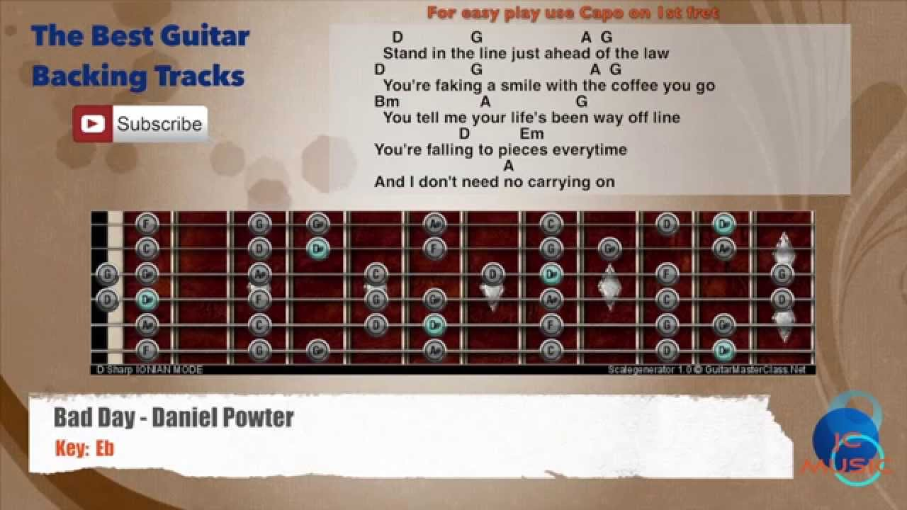 Bad Day Daniel Powter Guitar Backing Track With Scale And Chords