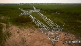 Установка опоры ЛЭП 750 кВ (Installation support 750 kV transmission line)(, 2015-04-26T07:30:00.000Z)
