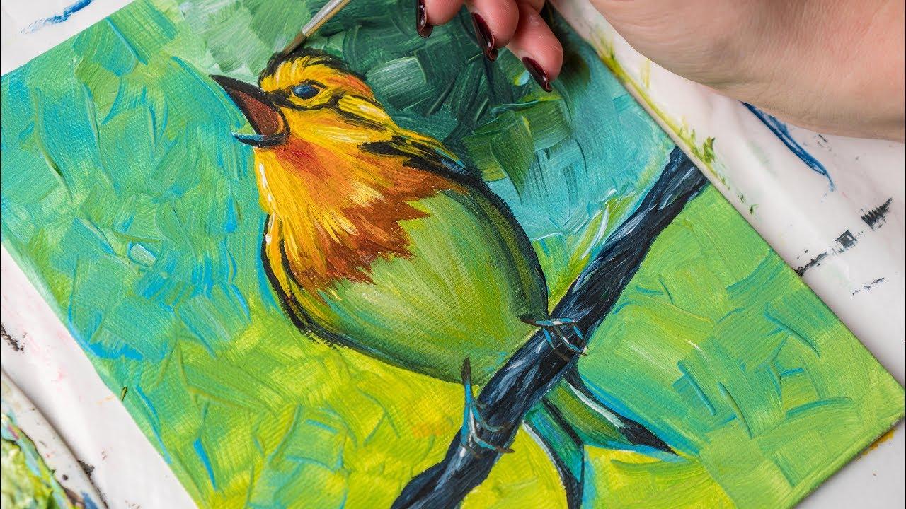 A Writer's Oasis: Love Birds: An acrylic Painting  |Bird Painting Acrylic