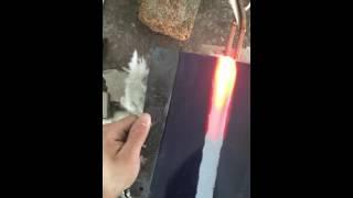 нагрев участка плоской заготовки на ВЧ-100 плоским индуктором