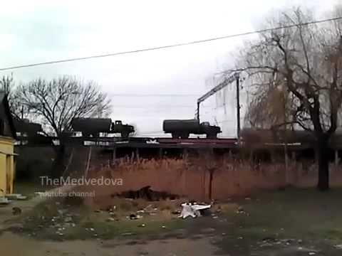Train with military equipment near Krasnodar