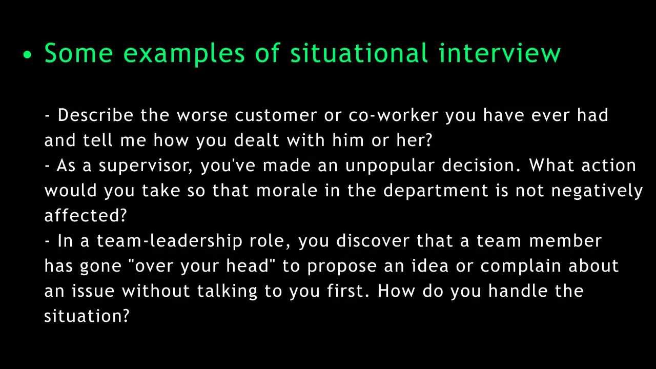 job interview questions and answers situational