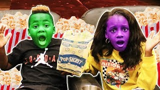 Magical Popcorn Turns Our Faces Green and Purple
