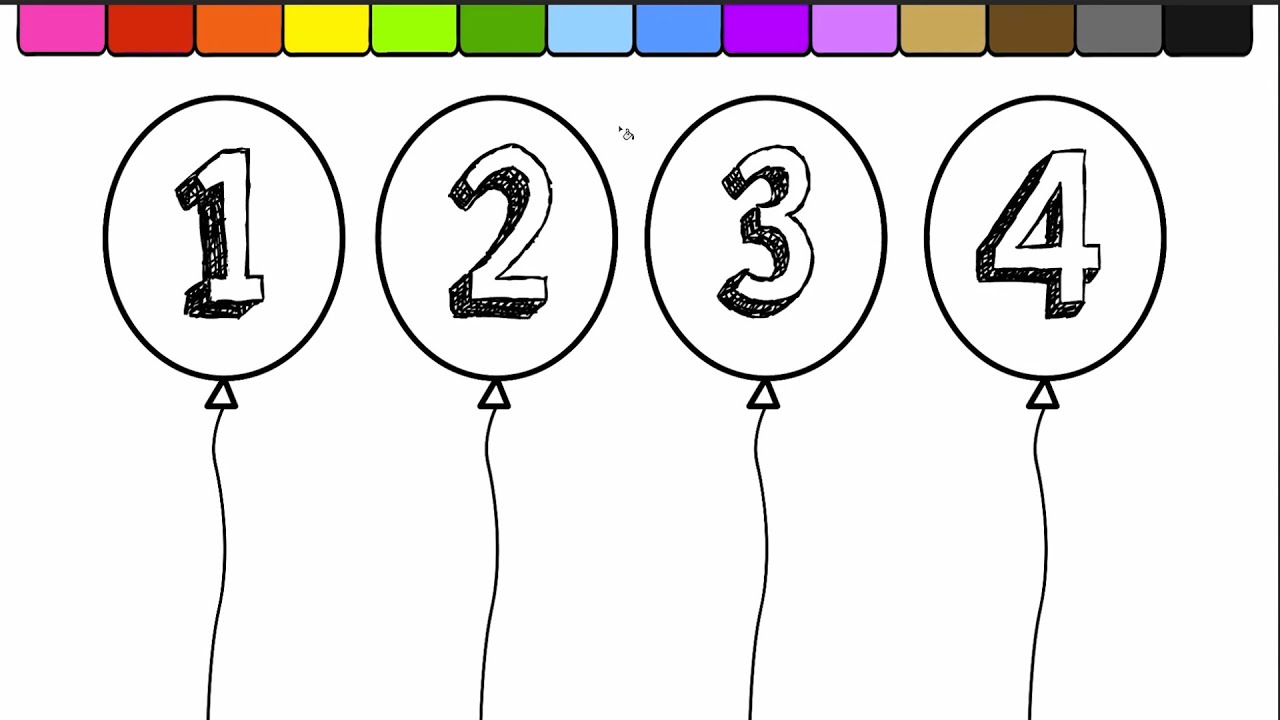 Learn Colors For Kids And Color Balloons Coloring Page And