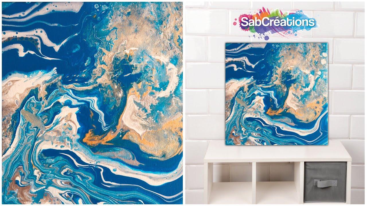 5 tableau abstrait acrylic pouring peinture fluide. Black Bedroom Furniture Sets. Home Design Ideas