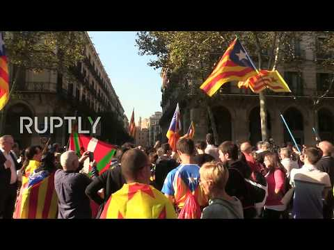 LIVE: Pro-independence protesters rally in Barcelona