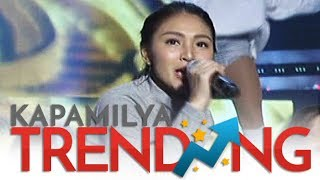 Nadine performs with the Hashtags and Girltrends