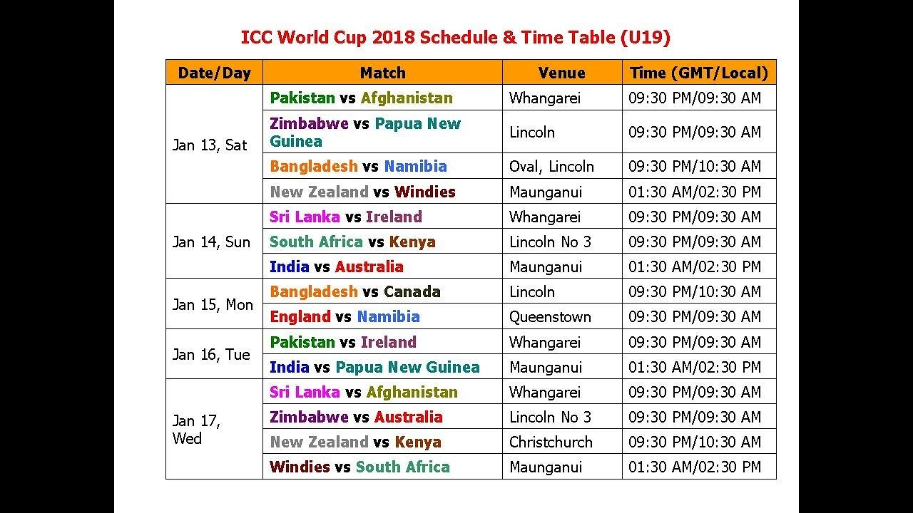 asia cup 2019 date and time table