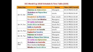 Video ICC World Cup 2018 Schedule & Time Table (U19) download MP3, 3GP, MP4, WEBM, AVI, FLV Oktober 2017