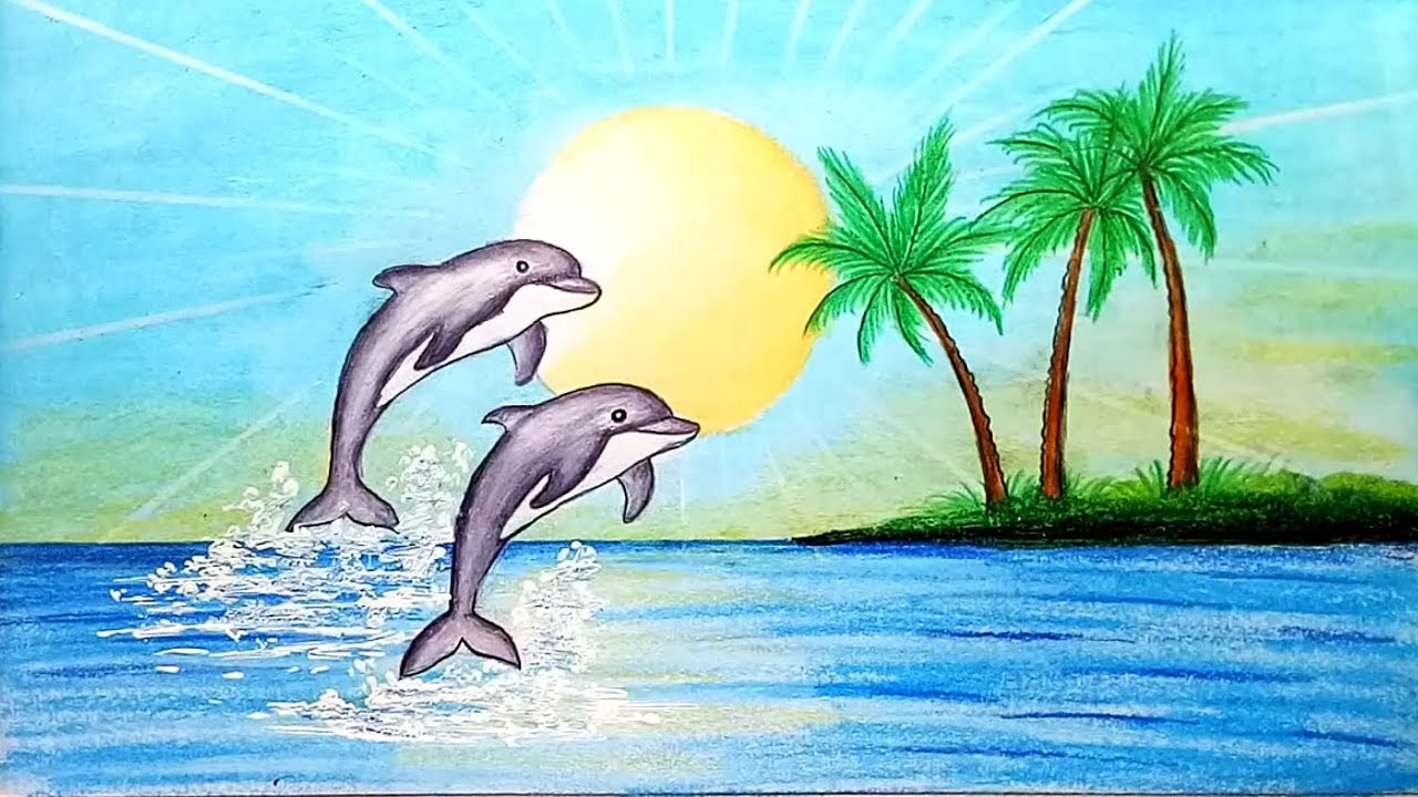 How To Draw Scenery Of Dolphin In Beach Step By Step Easy Draw