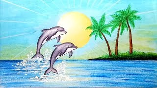 How to draw scenery of Dolphin in beach.Step by step(easy draw)