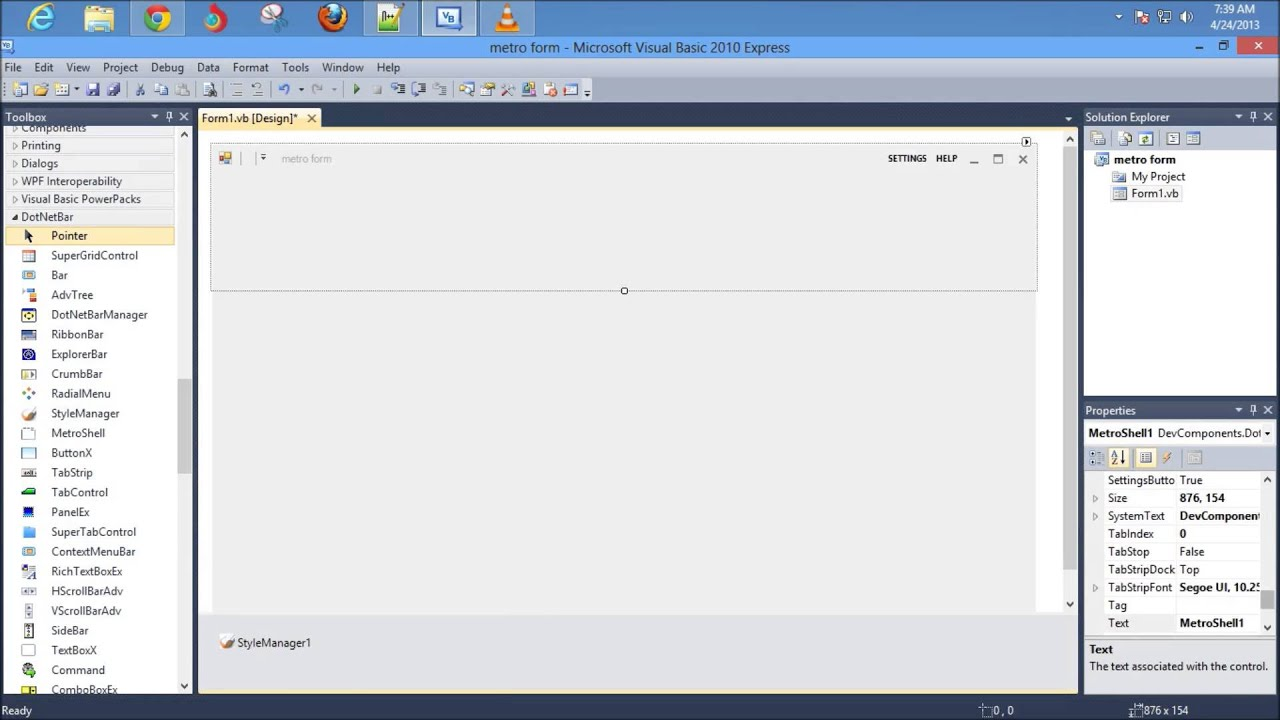 How to get metro style form in visual basic 2010 - YouTube