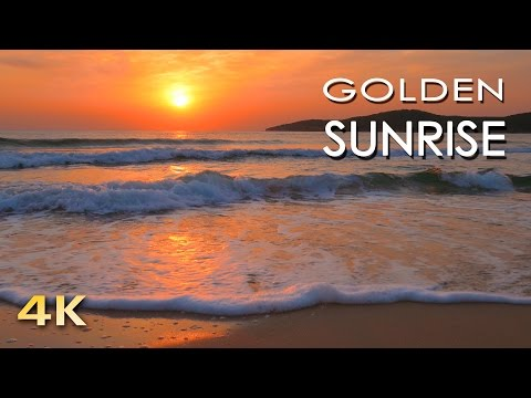 4K Golden Sunrise  Nature Relaxation   Relaxing Sea Ocean Waves Sounds  NO MUSIC  UHD 2160p