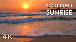 Download 4K Golden Sunrise - Nature Relaxation Video - Relaxing Sea Ocean Waves Sounds - NO MUSIC - UHD 2160p