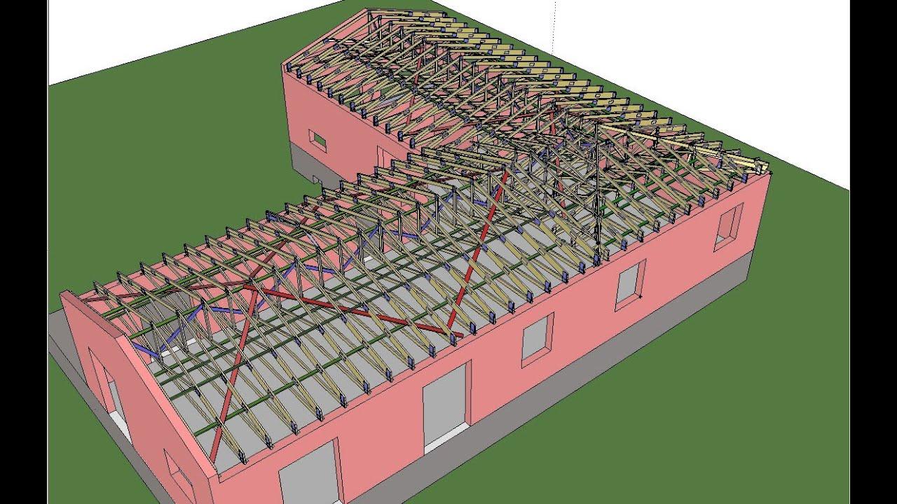 mod lisation 3d d 39 une charpente industrielle configuration en l youtube. Black Bedroom Furniture Sets. Home Design Ideas
