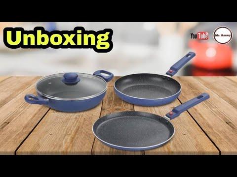 e4443fa7425 Unboxing  Prestige Omega Festival Pack Induction Bottom Cookware Set  (Aluminium