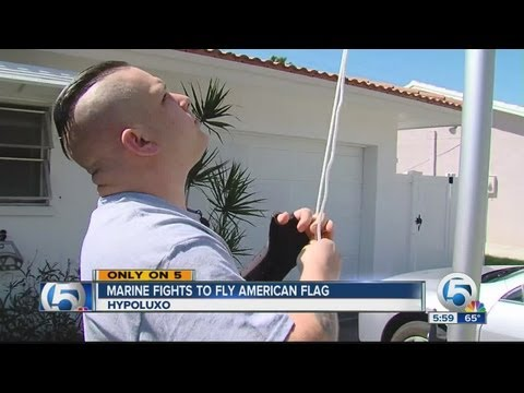 Former Marine wants to fly the American Flag