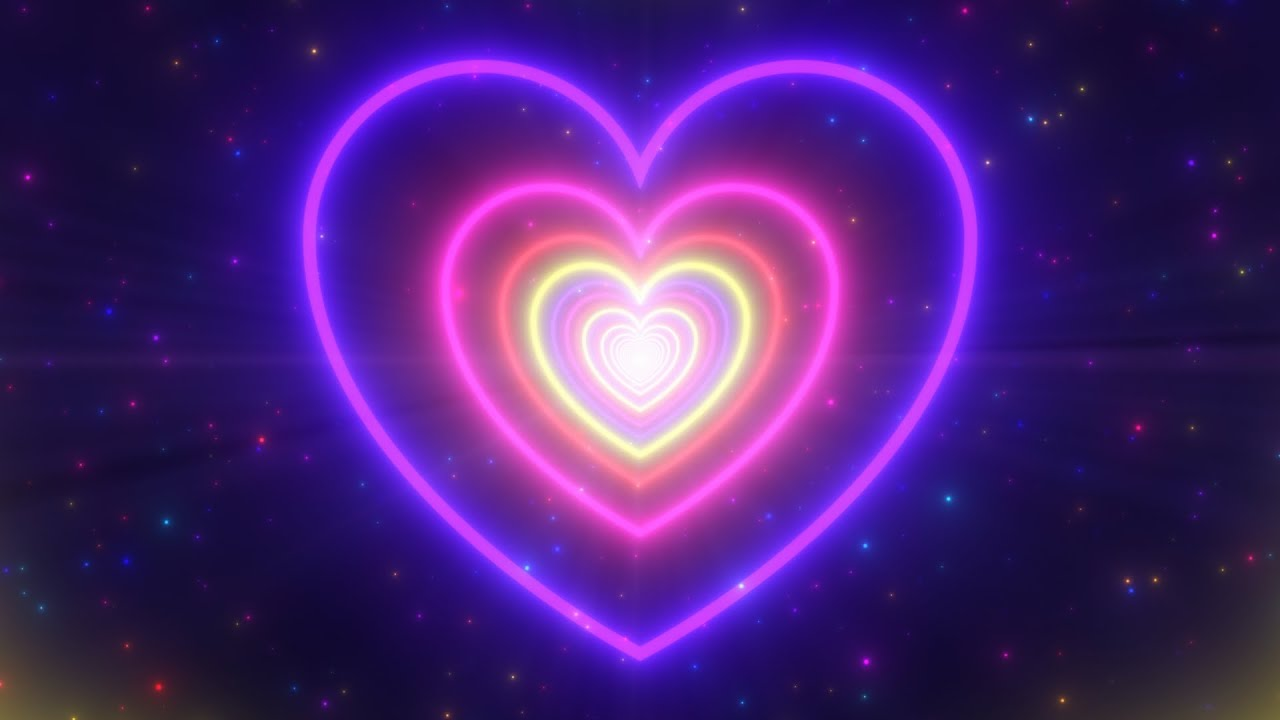 Neon Lights Love Heart Tunnel and Romantic Abstract Glow Particles 4K Moving Wallpaper Background