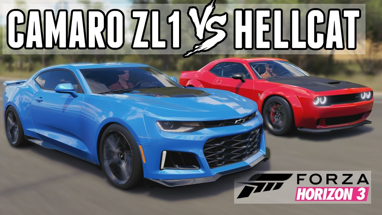king of the muscle cars 2017 camaro zl1 vs challenger hellcat forza horizon 3 youtube. Black Bedroom Furniture Sets. Home Design Ideas