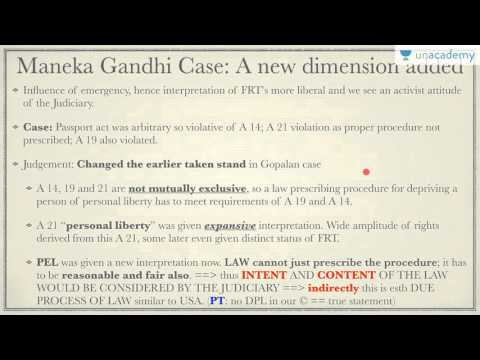 Polity Lecture for IAS: Part III : Fundamental Rights Article 21 - Maneka Gandhi case
