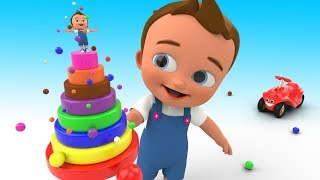 A Lot of Color Balls Rainbow Tower 3D Little Baby Learn Colors for Kids Children Educational Video