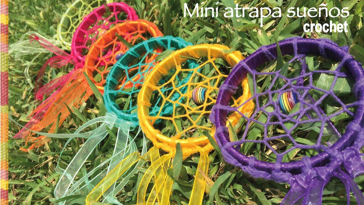 Atrapa sueños mini con borde tejido a crochet - YouTube