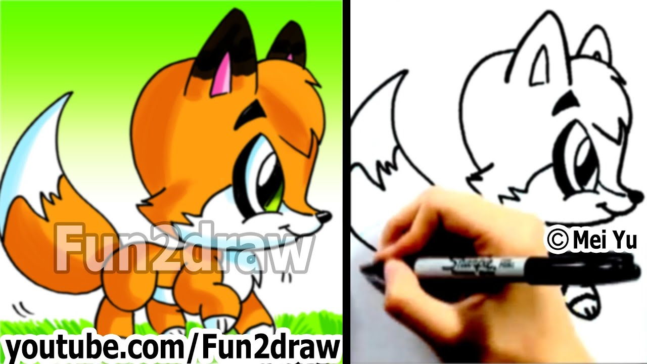 how to draw a cartoon fox cute animals drawings