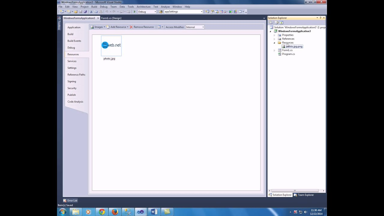 How to add image to resource in windows form in c#
