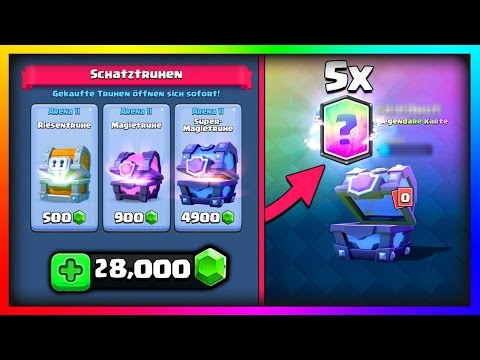 5 NEUE LEGENDÄRE KARTEN - 28,000 GEMS | BIG UPDATE CHEST OPENING | Clash Royale Deutsch
