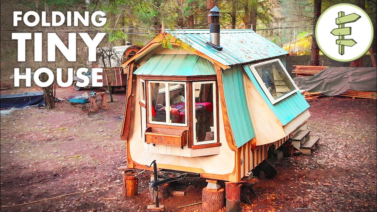 Amazing FOLDING Tiny House Built with Reclaimed Materials - Full Tour