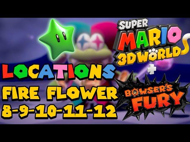 All Green Star Locations (World Fire Flower 8 9 10 11 12) - Super Mario 3D World (Switch)
