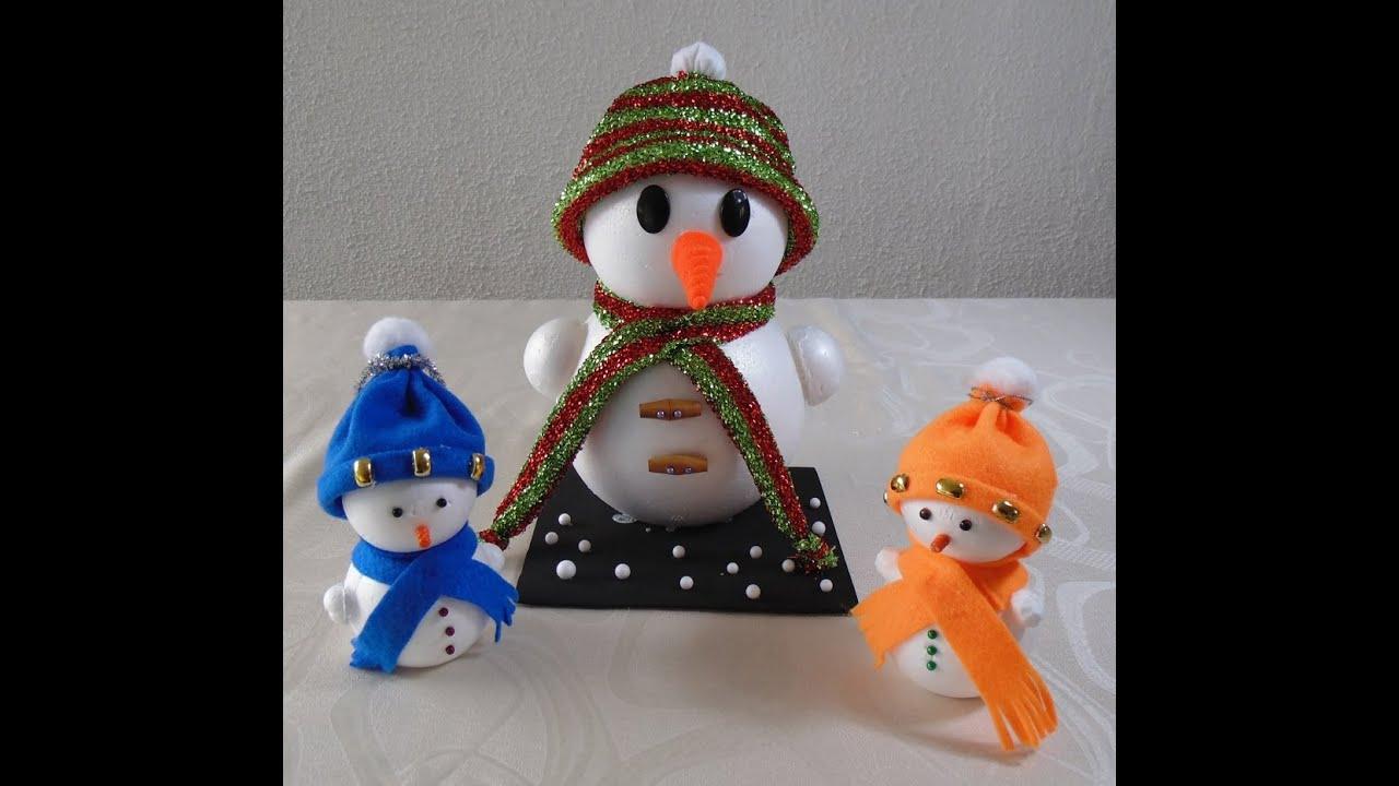 Manualidades de navidad c mo hacer un mu eco de nieve - Manualidades munecos de navidad ...