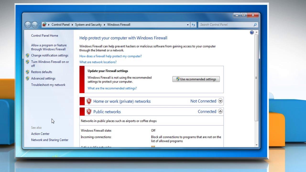 Configure Windows Firewall Settings On A Windows 7 Pc Youtube
